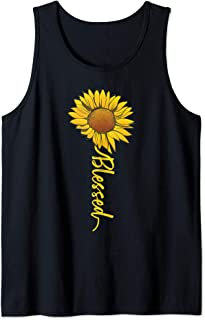 Cute Sunflower Blessed Faith Inspirational Religious Gift Tank Top