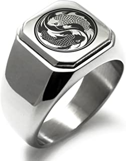 Stainless Steel Koi Fish Yin Yang Symbol Square Flat Top Biker Style Polished Ring
