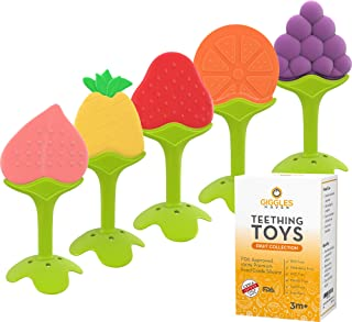 Giggles Haven Teething Toys (5-Pack) - Fruit Shaped Silicone Baby Teethers - BPA-Free Sensory Pacifiers for Natural Brain Development of Infants and Toddlers - Perfect for Newborn Girls and Boys