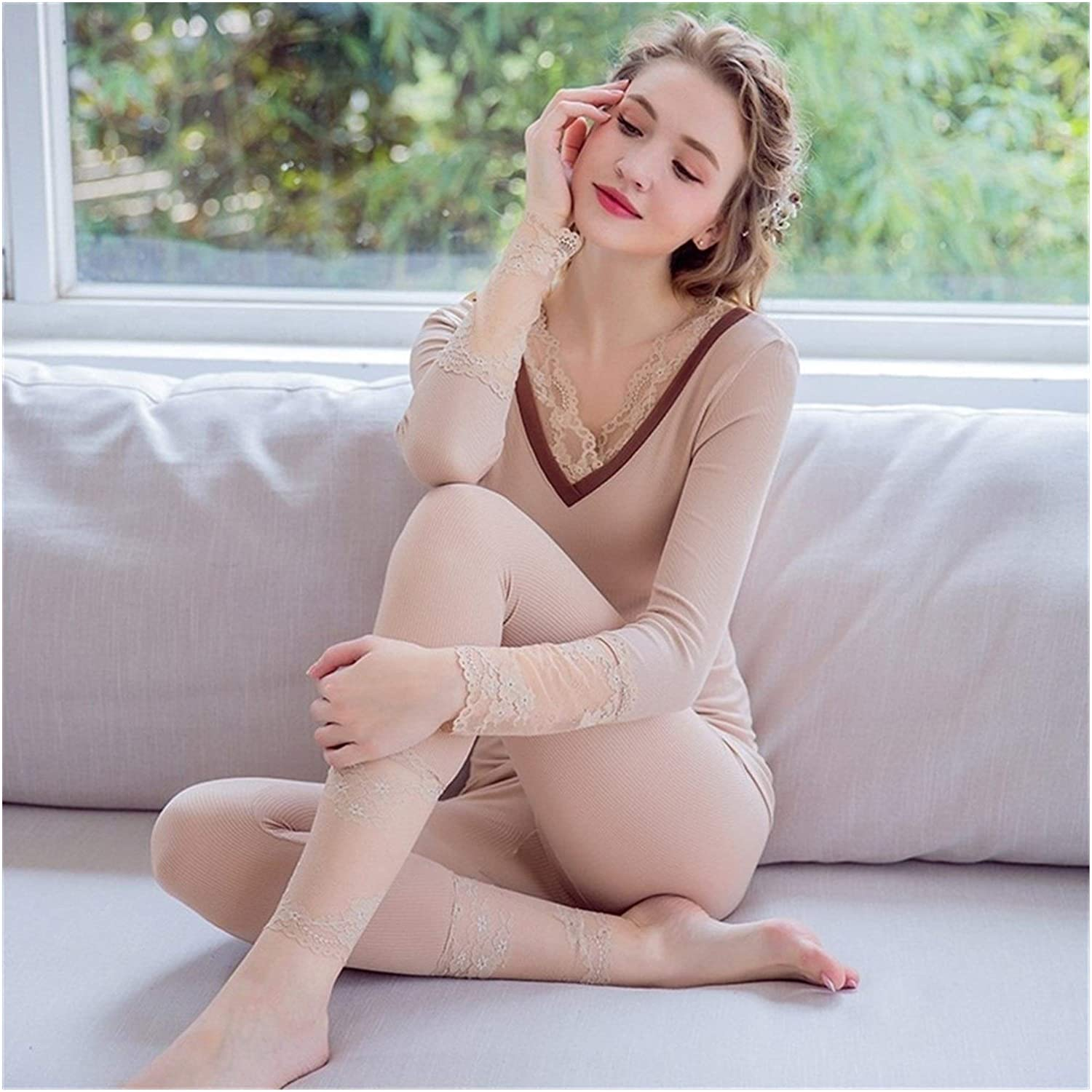 QWERBAM Womens Thermal Underwear Sets Winter Warm Thermo Underwear Stretch Clothing Autumn Thermal Clothing (Color : 3, Size : One Size)