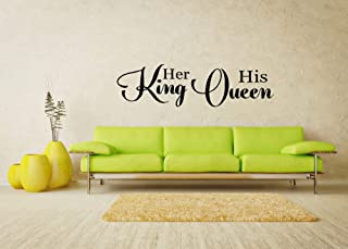 byyoursidedecal Her King his Queen Vinyl Wall Decal,Art Quotes Inspirational Sayings 6