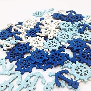 Nautical Cutouts Confetti Wooden Blue and White Table Confettis Party Decorations, Anchor Ship Wheel 100Pcs Art Crafts, Ocean Sailor Decor, Scrapbook Accessories
