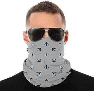 Lsjuee Mezze bandane Varietà Sciarpa al collo Warme Scaldacollo Sciarpa Strisce diagonali con icone di viaggio blu Sagome ...