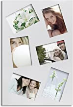Adeco 6 Openings Decorative White Wood Canvas Family Wedding Picture Photo Frame - Made to Display Six 4x6 Photos