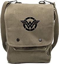 Grab A Smile Wonder Woman Logo Canvas Crossbody Travel Map Bag Case in Olive & Black