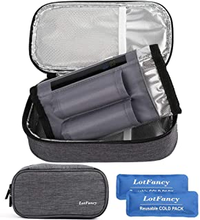 LotFancy Insulin Cooler Travel Case, Insulated Diabetic Medication Cooling Bag with 2 Ice Packs and Temperature Strip - In...