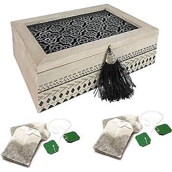 Palazzo Int Caja para té de madera como vorrats – Bote para té en Orient Shabby Chic Look dekorativem Tapa para bolsas de té 6 compartimentos: Amazon.es: Hogar