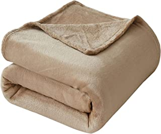 VEEYOO Fleece Blanket Queen Size - Ultra Soft Warm Plush Blanket All Seasons Lightweight Bed Throw Blanket 90 x 90 Inches, Khaki