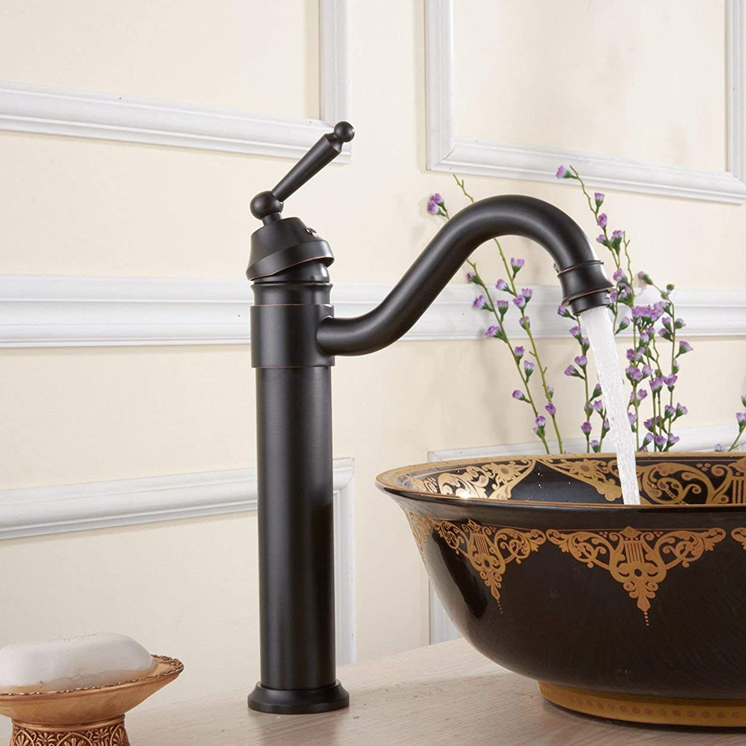 NANIH home Sink Mixer Tap Bathroom Kitchen Basin Tap Leakproof Save Water Copper Black Ancient Retro Hot And Cold Single Hole Plus High Kitchen