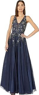 Women's Beaded Mesh Long V-Neck Gown