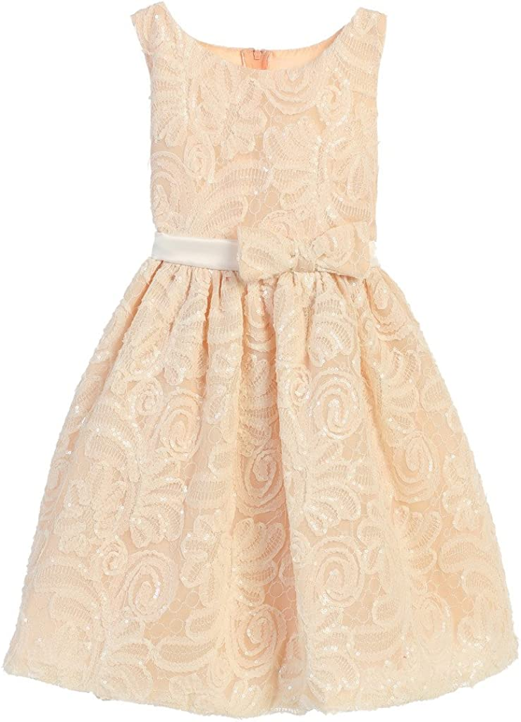 Sweet Kids Baltimore Mall Embroidered Mesh with Little Spe 2021 model Detail Girls' Sequin