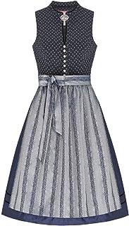 Lieblingsgwand Midi Dirndl 65er anthrazit dunkelblau Stretch Elke 006608, hochgeschlossen, V-Ausschnitt, Stehkragen, Baumwolle, Rocklänge ca.65cm