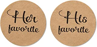 "80-Pack- 2"" Kraft his Favorite & her Favorite Wedding Stickers, Rustic Wedding Favor Stickers Labels"