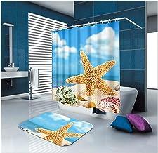 AMDXD Bathroom Set Curtain Mats Accessories Starfish Conch Beach Shell Blue Brown Shower Curtain White Mildew Proof Bath M...