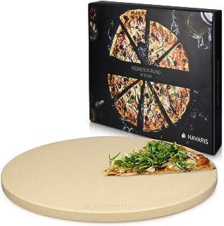 Navaris Pierre à Pizza pour Four XXL - Plaque de Cuisson Pâtisserie Pain Tarte Flambée - Pierre Pizza Ronde Barbecue Grill...