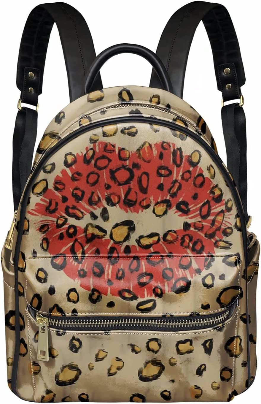 SEANATIVE Leather Backpack Detroit Mall Purse Fashionable for Red Lips Leopard Women with