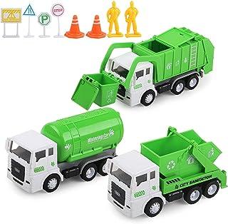 Toy Vehicles Set 3 Pack Sanitation Truck Car Model...