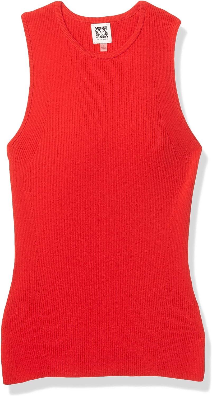 Anne Klein Women's Crew Neck Ribbed Sleeveless Sweater Shell