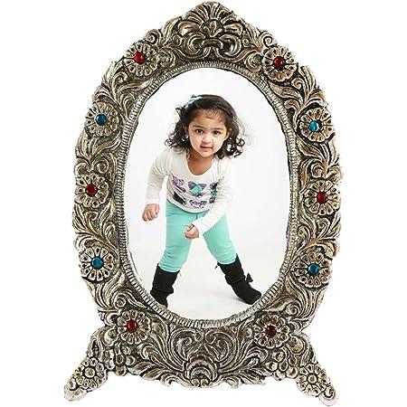 eCraftIndia Antique Finish White Metal Splendid Photo Frame (Brown, 7 x 0.5 x 10 inches)