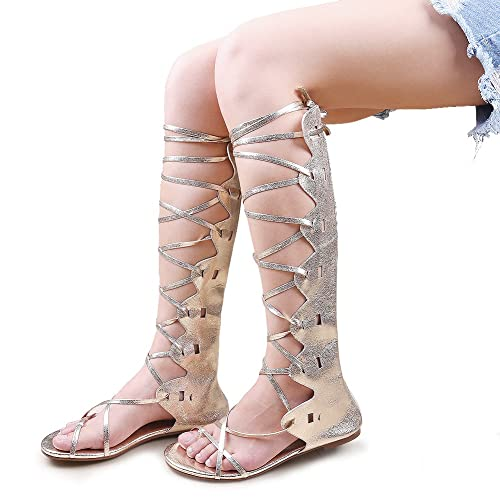 9b25df9770b6b Kattee Women s Comfy Lace Up Flat Knee High Gladiator Sandals Gold Color