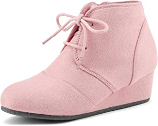 DREAM PAIRS Toddler/Little Kid/Big Kid Girl's Low Wedge Heel Booties Shoes