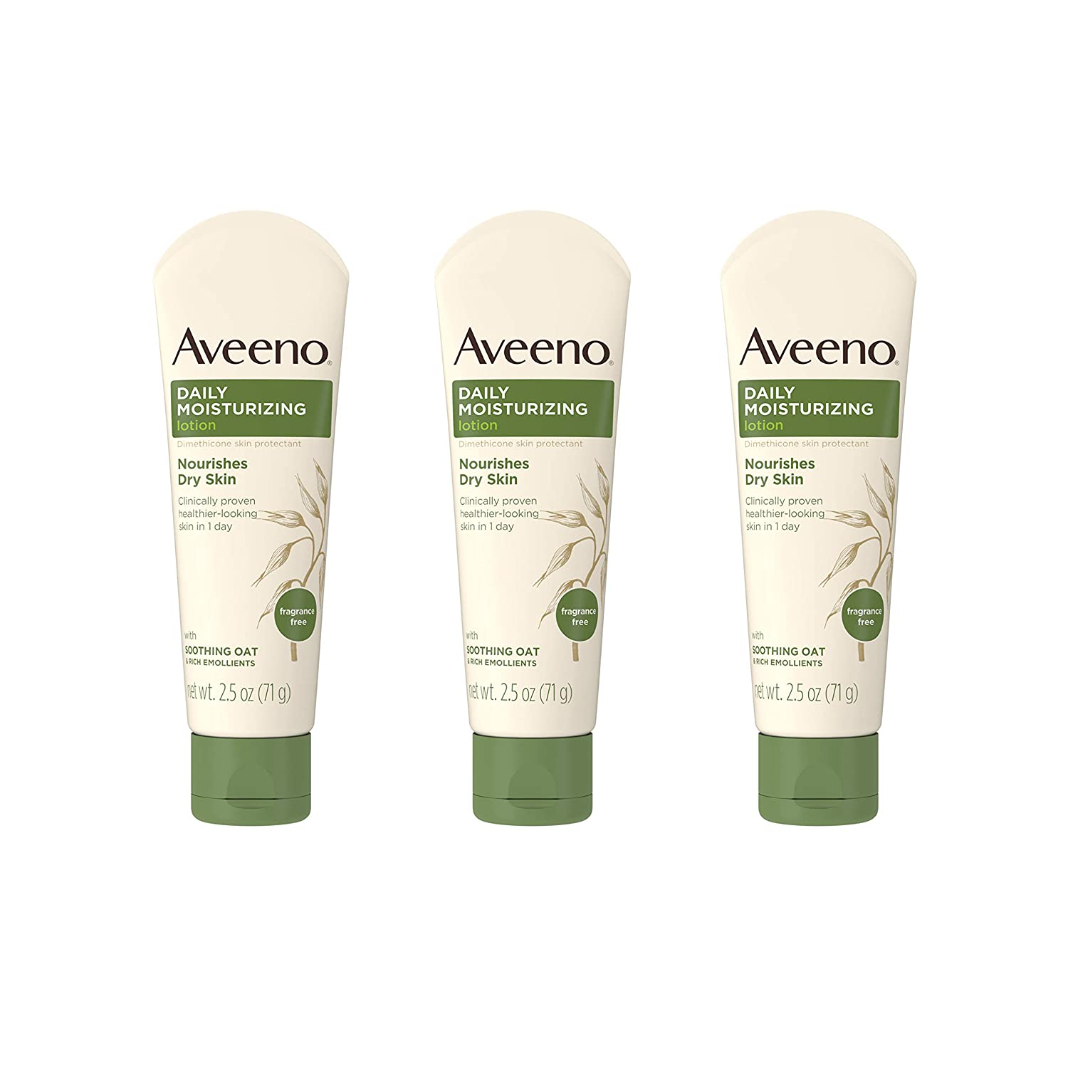 Aveeno Daily Moisturizing Body Lotion with Soothing Oat and Rich Emollients to Nourish Dry Skin, Fragrance-Free, 2.5 fl. oz (Pack of 3): Beauty
