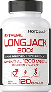 Longjack 200 1 Tongkat Ali | 1200mg 120 Capsules | Extreme Male Performance Supplement | Extract for Libido, Energy, Stami...