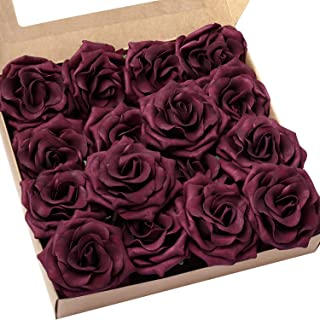 Ling's moment Rose Artificial Flowers 16pcs Realistic Marsala Avalanche Roses with Stem for DIY Wedding Bouquets Centerpieces Floral Arrangements Decorations