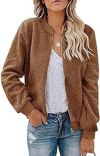 MIROL Women`s Sherpa Fleece Jacket Faux Fuzzy Long Sleeve Casual Zip Up Bomber Coat with Pockets