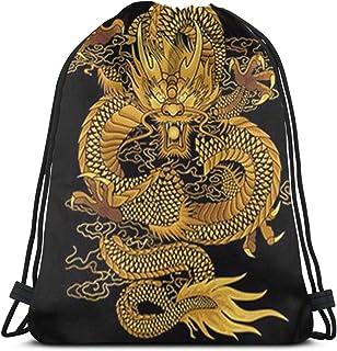 985 Torba na siłownię obraz chiński złoty smok plecak ze sznurkiem praktyczna torba do przechowywania idealny plecak do pł...