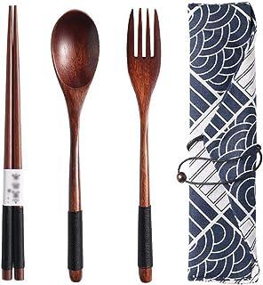 Yaosh Drewniane sztućce podróżne z torbą z tkaniny, przenośna drewniana łyżka, widelec, pałeczki zestaw naczyń z torbą na ...