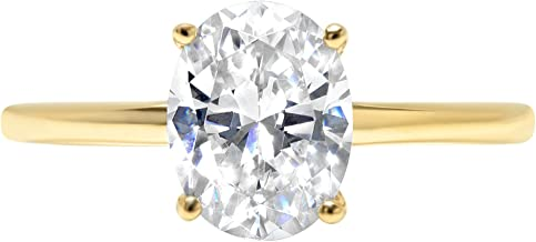 2ct Oval Brilliant Cut Classic Solitaire Designer Wedding Bridal Statement Anniversary Engagement Promise Ring Solid 14k Yellow Gold