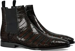 Costoso Italiano Brown Alligator Textured Leather Formal Slip On Dress Chelsea Boots for Men