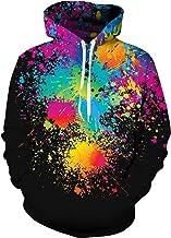 TUONROAD Heren Hoodie Grappige 3D Kleurrijke Hoody Sweatshirts Lange Mouw Trui Met Kanga Pocket M-XXL