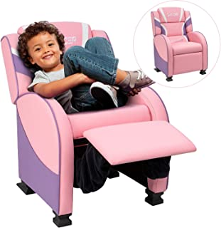 Homall Kids Recliner Chair, Lounge Furniture for Boys & Girls PU Leather Single Living Bed Room Chair Children Sofa (Pink)