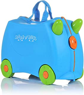 IQ Toys Ride N Roll Suitcase, Travel Luggage & Storage Bag Blue