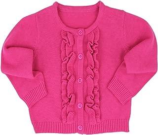 RuffleButts Baby/Toddler Girls Ruffled Long Sleeve Cardigan Button-Up Sweater