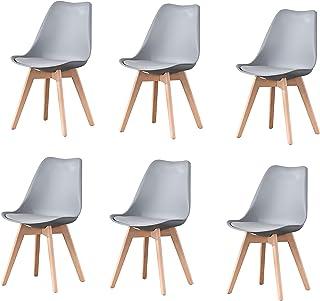 Lucky Factory Lot de 6 chaises de Salle à Manger scandinaves, Chaise de Cuisine Salle à Manger Design scandinave Assise re...