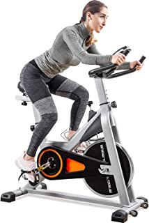 Merax Indoor Cycling Bike 30Lbs Flywheel - Stationary Exercise Bike with LCD Monitor, Phone Holder and Oversize Soft Saddle