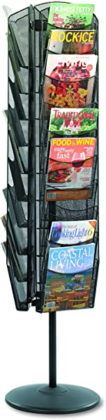 Safco Products Onyx Mesh Rotating Magazine Stand 5577BL Black Powder Coat Finish Durable Steel Mesh Construction Rotates 360 Degrees