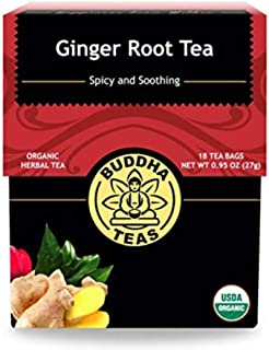 Organic Ginger Root Tea, 18 Bleach-Free Tea Bags – Caffeine Free Tea Calms Upset Stomach, Relieves Joint Pain and Inflamma...