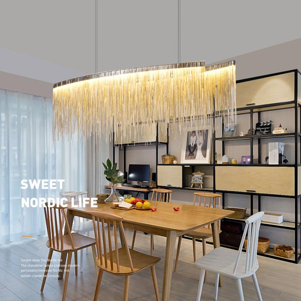 7PM Modern Linear Chandelier Tassels New Award-winning store sales Light Pendant Chain Chrome
