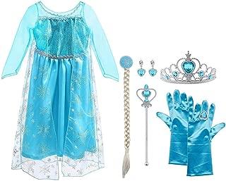 Vicloon Ice Queen Prinzessin Kostüm Kinder Deluxe Fancy Blaues Kleid,Accessoires und Schuhe für Mädchen, Weihnachten Verkleidung Karneval Party Halloween Fest-4-5 Jahre Size 120 cm-Blau