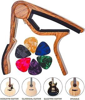 LongJoy Capo con traje de acabado en madera Ukelele, acústica, eléctrica y bajo (color madera)