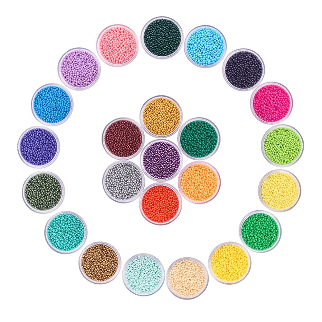 PandaHall Elite 24 Boxes of About 40800 Pcs 13/0 Multicolor Beading Glass Seed Beads 24 Colors Opaque Round Pony Bead Mini Spacer Beads Diameter 2.3mm with Container Box for Jewelry Making