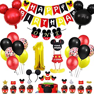 Danirora Mickey Mouse Party Decorations 1st Birthday, Mickey Mouse Birthday Party Supplies for Kids Mickey Banner Mickey T...