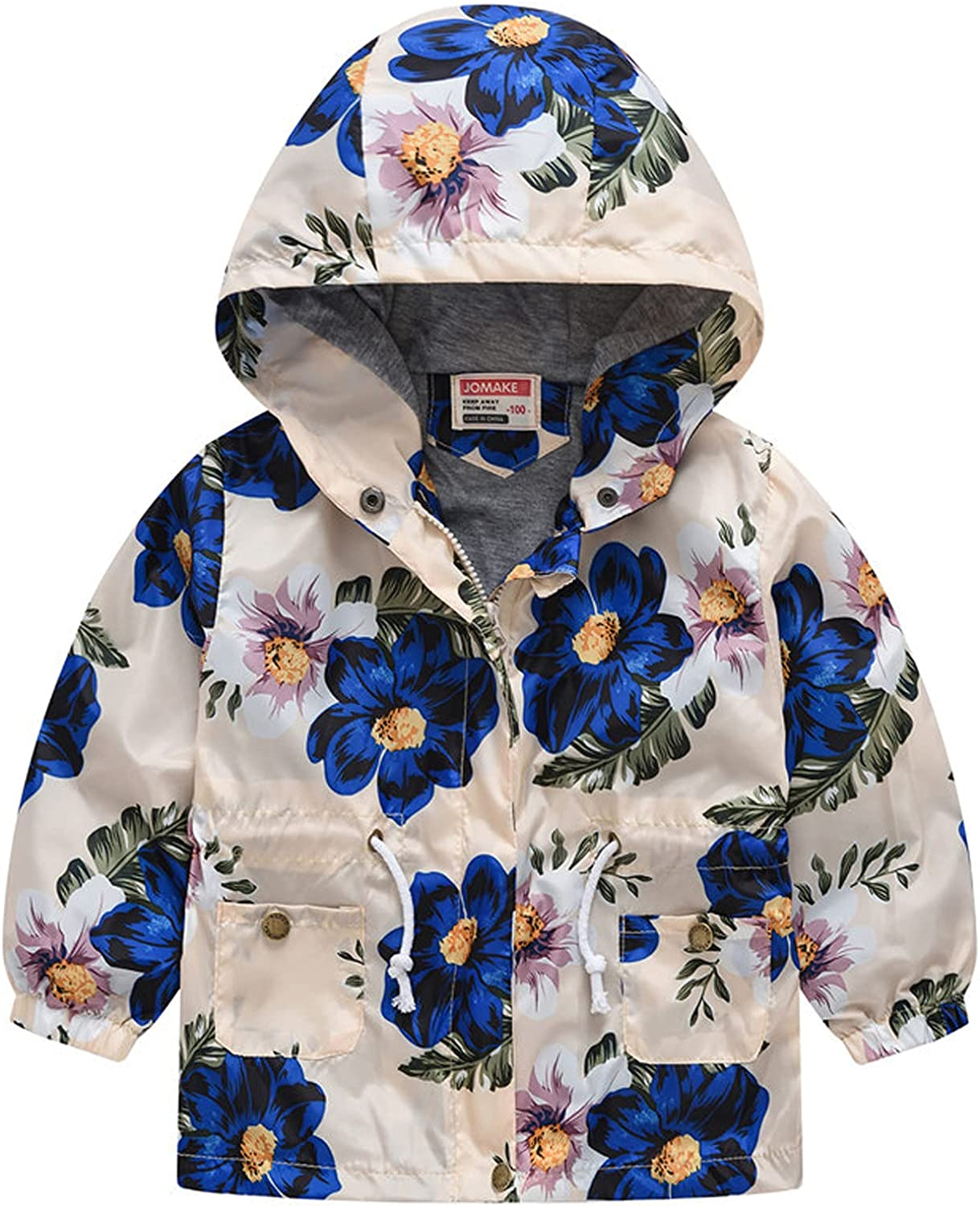 ZXCC Kids Grils Boys Outdoor Jacket Fashion Print Hooded Autumn Winter Long Sleeve Casual Lightweight Outerwear Coats