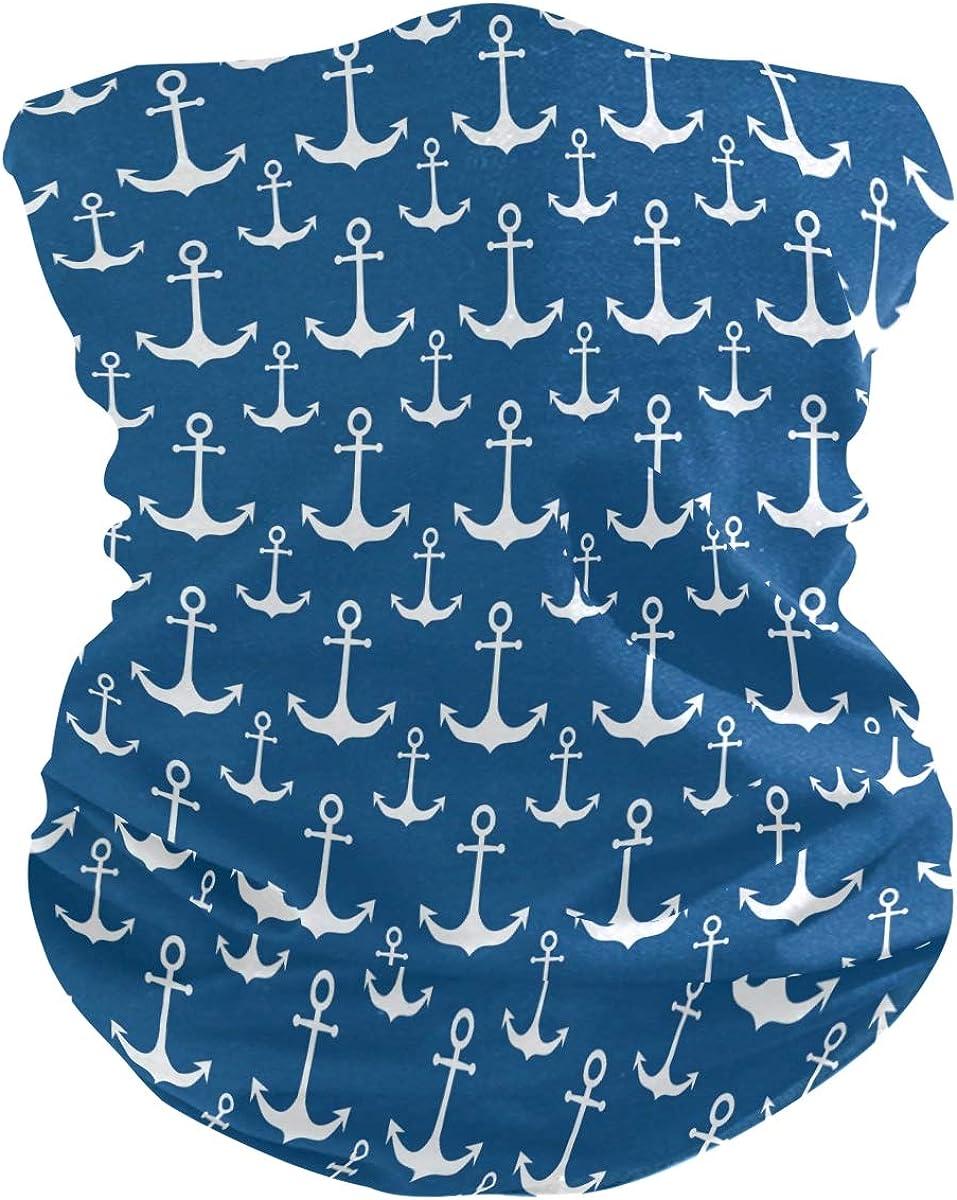 ALAZA Blue White Anchor Headwear Magic Scarf Headband Bandana Outdoor Sports for women men
