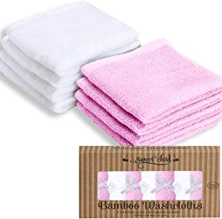 SWEET CHILD Bamboo Baby Washcloths (Bonus 8-Pack) - Premium Extra Soft & Absorbent Towels for Baby's Sensitive Skin-Perfec...