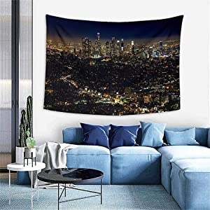 Los Angeles Tapestry,Skyline City Landscape Colours Dark Hollywood,Wall Hanging Wall Decor Blanket for Bedrooms Living Room Tablecloth Dorm Home Decor - 60